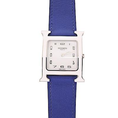 HERMES Heure H 牛皮銀框石英女仕腕錶(寶藍/26mm)