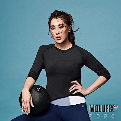 【小禎聯名設計】Mollifix 瑪莉菲絲 TRULY修身後網長袖上衣 (黑)