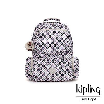 Kipling 復古花磚多拉鍊袋後背包-KANGRA