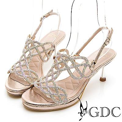 GDC-女神降臨編織水鑽性感簍空兩穿式中跟涼拖鞋-金色