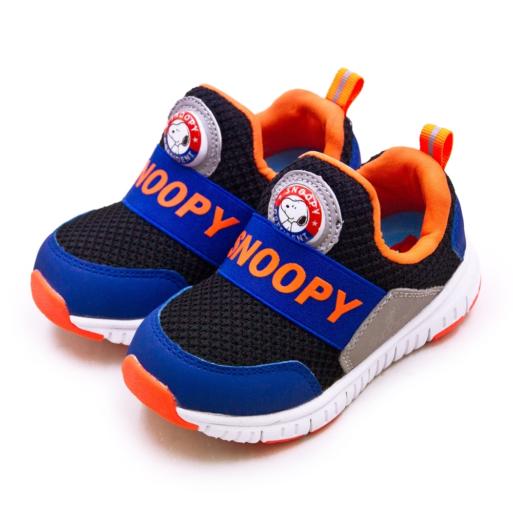 SNOOPY 史努比 PEANUTS兒童電燈運動鞋 黑藍橘 95120