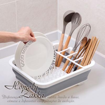 Homely Zakka 多功能可折疊瀝水碗架/餐具收納籃/碗碟置物架