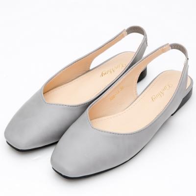 River-Moon都會優雅 極簡素面V口後拉帶方頭鞋-灰