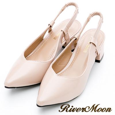 River&Moon大尺碼-輕熟時尚後拉帶尖頭粗跟鞋-曙光粉