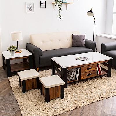 時尚屋 本森4.3尺雙色積層木大小茶几組 寬130x深70x高47cm