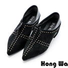 Hong Wa 2WAY兩穿貼鑽絨布顯瘦尖頭跟鞋 - 黑