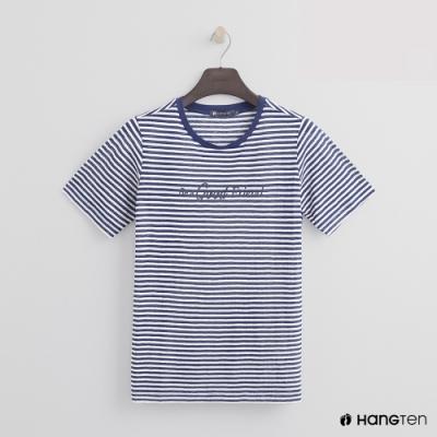 Hang Ten -女裝 - 糖果配色橫條紋短T - 藍