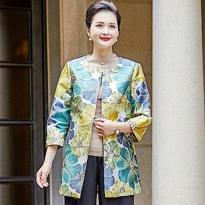 淡彩花朵刺繡印花緹花外套L~5XL(共二色)-理子時尚
