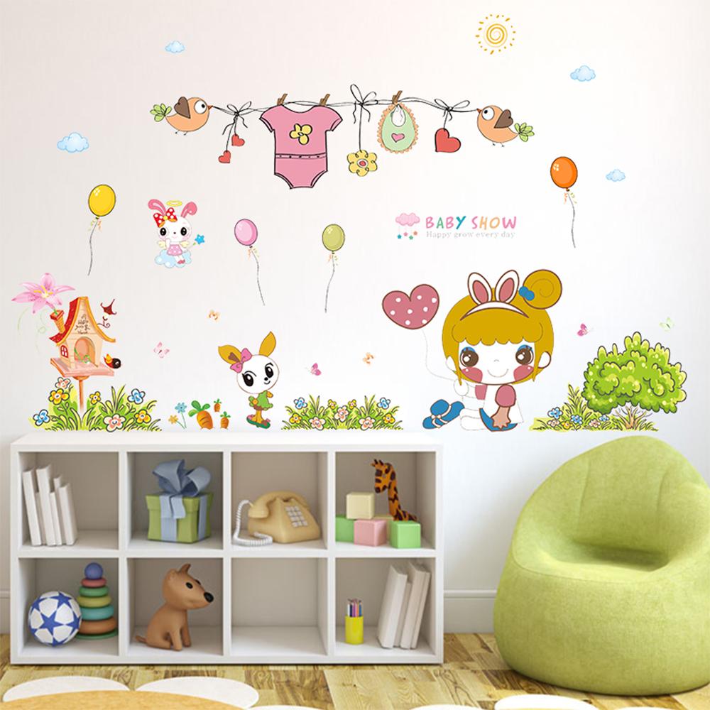 半島良品 DIY無痕壁貼-可愛兔女孩 XL7092 50x70cm