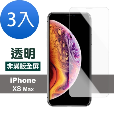 iPhone XS Max 透明 高清 非滿版 防刮 保護貼-超值3入組