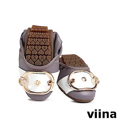 viina 皮帶釦撞色摺疊鞋MIT-粉紫
