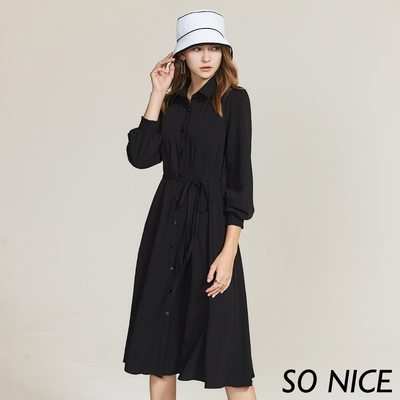 SO NICE都會襯衫領開襟綁帶洋裝