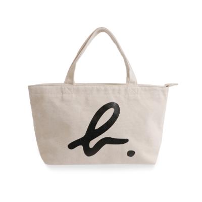 agnes b. Voyage 小型b logo棉質手提袋(白)
