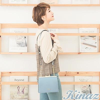 KINAZ 花園精靈鏈帶斜背包-愛麗絲藍-紫藤花系列