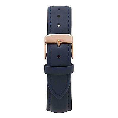 Elie Beaumont 英國時尚手錶 深藍色皮革玫瑰金錶扣替換錶帶 18mm