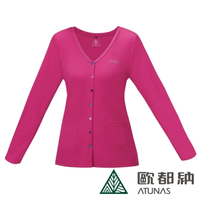 【ATUNAS 歐都納】女款防曬吸溼排汗透氣針織罩衫外套A1-G1610W桃紅