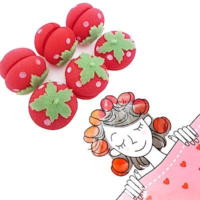 日本kiret 神奇草莓海綿捲髮球睡眠捲髮球(6入)