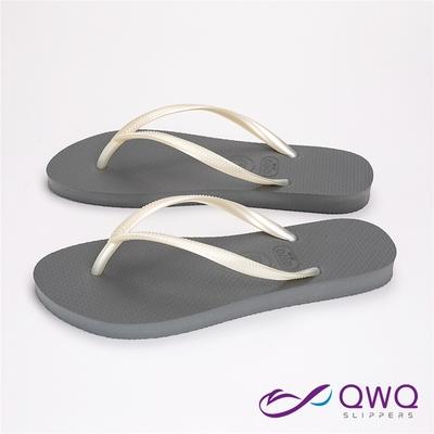 QWQ女生素面防滑夾腳拖-Slim跳色系列-灰底白帶-時尚休閒涼拖鞋(AAAA11208)