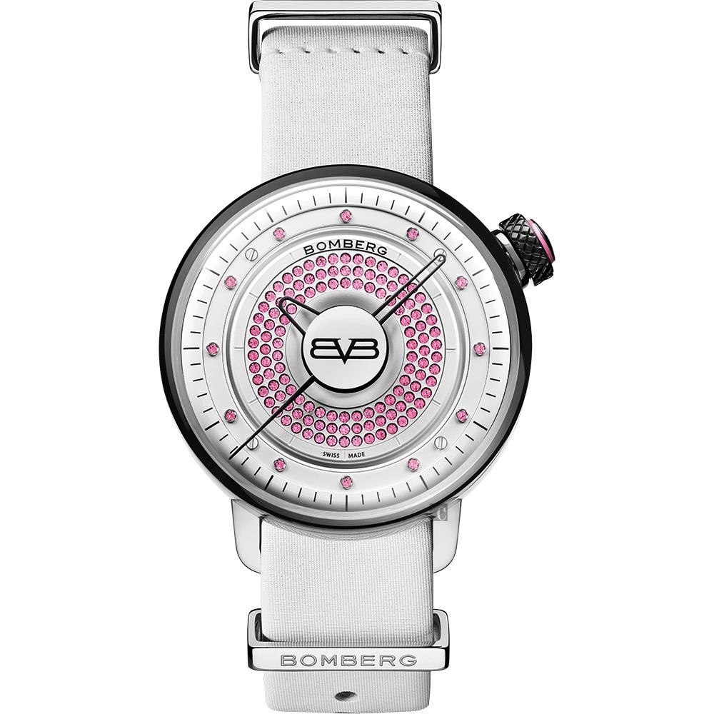 BOMBERG 炸彈錶 BB-01 系列石英晶鑽女錶-粉紅晶鑽/38mm