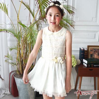 Annys皇室高訂紋理料拼接絲緞襬禮服*7114米白