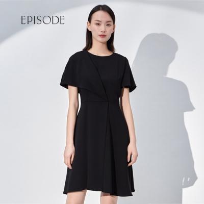 EPISODE - 氣質圓領荷葉邊摺皺短袖洋裝(黑)