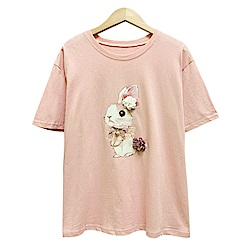 可愛兔子花朵釘珠上衣 共三色 TATA