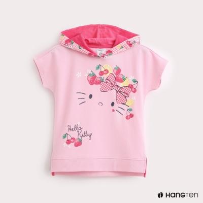 Hang Ten-Sanrio-童裝Hello Kitty印花格紋連帽T恤-粉