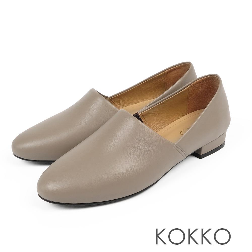 KOKKO -舒適軟底羊皮方頭平底鞋-毛線灰