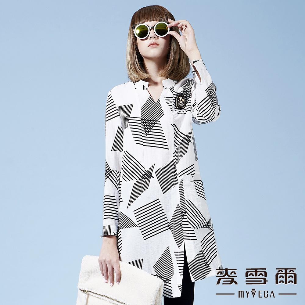 【麥雪爾】幾何圖形中山領襯衫洋裝