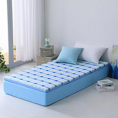 LAMINA 經典格紋透氣床墊5cm-藍(單人)