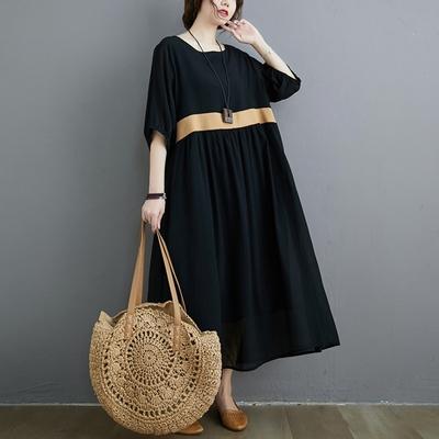米蘭精品 連身裙短袖洋裝-圓領休閒寬鬆高腰女裙子2色73xz3