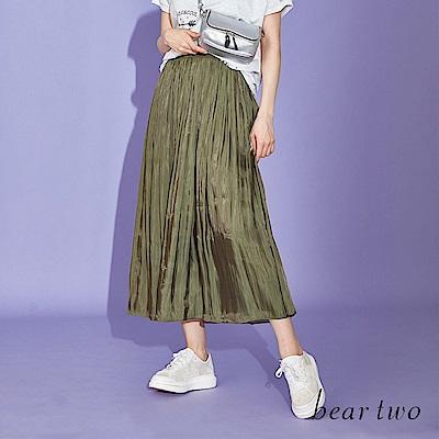 beartwo 素面飄逸仙女百褶中長裙(二色)