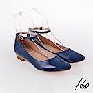 A.S.O 百變女伶 時尚亮面奈米低跟鞋 藍