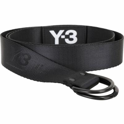 Y-3 LOGO D型環釦字母標誌織布腰帶(黑色)