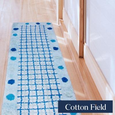 棉花田 點點 純棉提花走道毯-藍色(45x135cm)