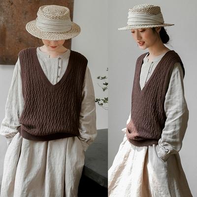 澳洲進口100%綿羊毛寬鬆毛衣馬甲外穿-設計所在