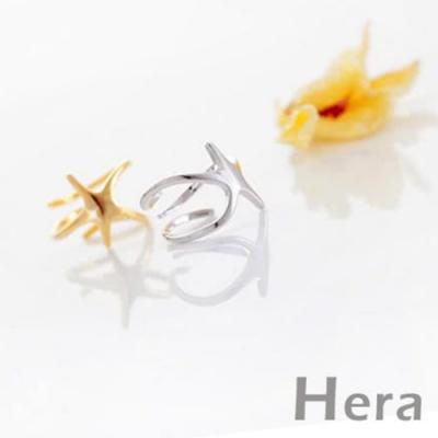 Hera赫拉 線條五角海星開口戒指/微調戒-金色