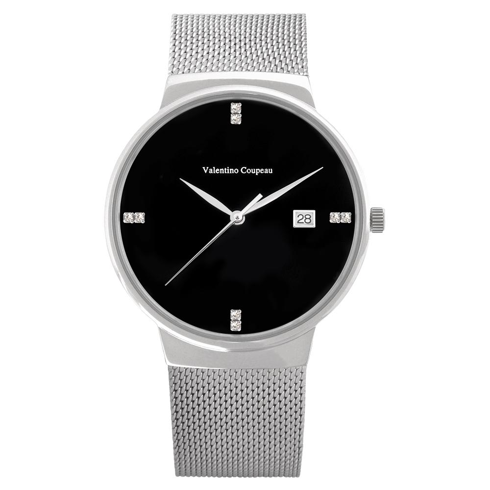 Valentino Coupeau 范倫鐵諾 古柏 時尚極簡設計腕錶【銀色/米蘭/黑珠】