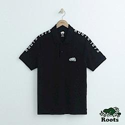 男裝Roots 雙肩反光字標短袖POLO衫-黑