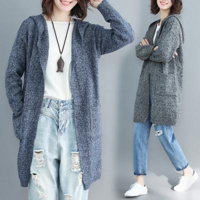 La Belleza素色連帽混色針織雙口袋長版毛衣開衫外套