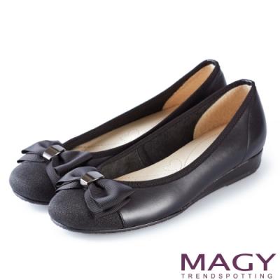 MAGY 甜美混搭新風貌 織帶蝴蝶結拼接雙材質平底娃娃鞋-黑色