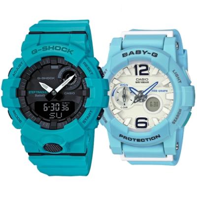 CASIO 湛藍之心愛運動休閒對錶(GBA-800-2A2+BGA-180BE-2B)