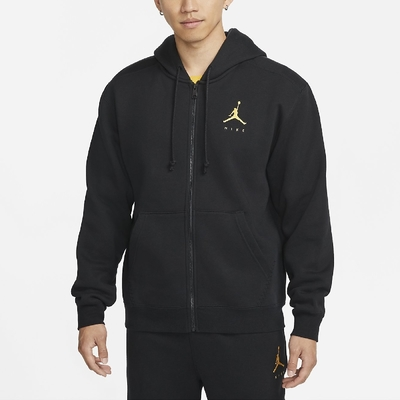Nike 外套 Full Zip Fleece Jacket 男款 喬丹 飛人 微刷毛 柔軟 連帽 黑 黃 DC9607-010