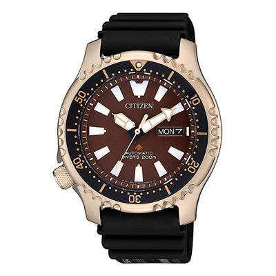 CITIZEN 遨遊天地機械腕錶-玫瑰金X咖啡(NY0083-14X)/42mm