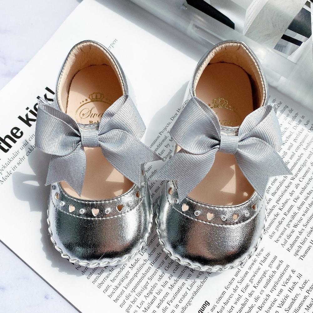 Swan天鵝童鞋-甜美愛心水鑽背帶蝴蝶結學步鞋1524-銀