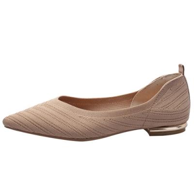 KEITH-WILL時尚鞋館 美型淑女針織尖頭鞋-卡其