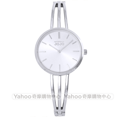 NATURALLY JOJO 簡約魅力造型手環時尚手錶-銀/30mm