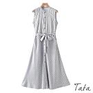 斜直條紋排扣無袖洋裝(附綁帶) TATA