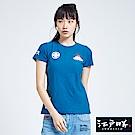 EDWIN 江戶勝 潮風圖騰短袖T恤-女-藍色