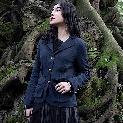 設計所在Style-復古文藝藏青麻料休閒夾克外套